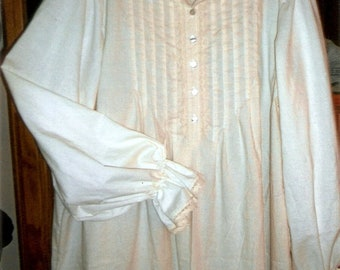 Victorian Natural Cotton Nightgown/high collar/trimmed in cotton lace /Sizes 6-26/ Shell buttons/ Collar can be worn up or turned down
