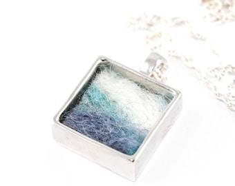 Felted Landscape Pendant in Silver Frame Setting - Wool Fiber Art Jewelry (Blueridge Mountain View)