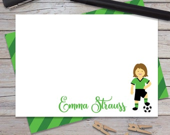 Personalized Soccer Stationery for Girl or Boy, Kids Thank You Notes, Custom Note Cards, Girls Stationary Set, Blank Notecards (1708-024FL)