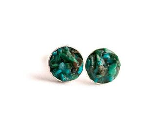 FREE SHIPPING // Blue Chrysocolla Earrings // Chrysocolla Earrings // Chrysocolla Studs // Chrysocolla Jewelry // Raw Chrysocolla // Blue