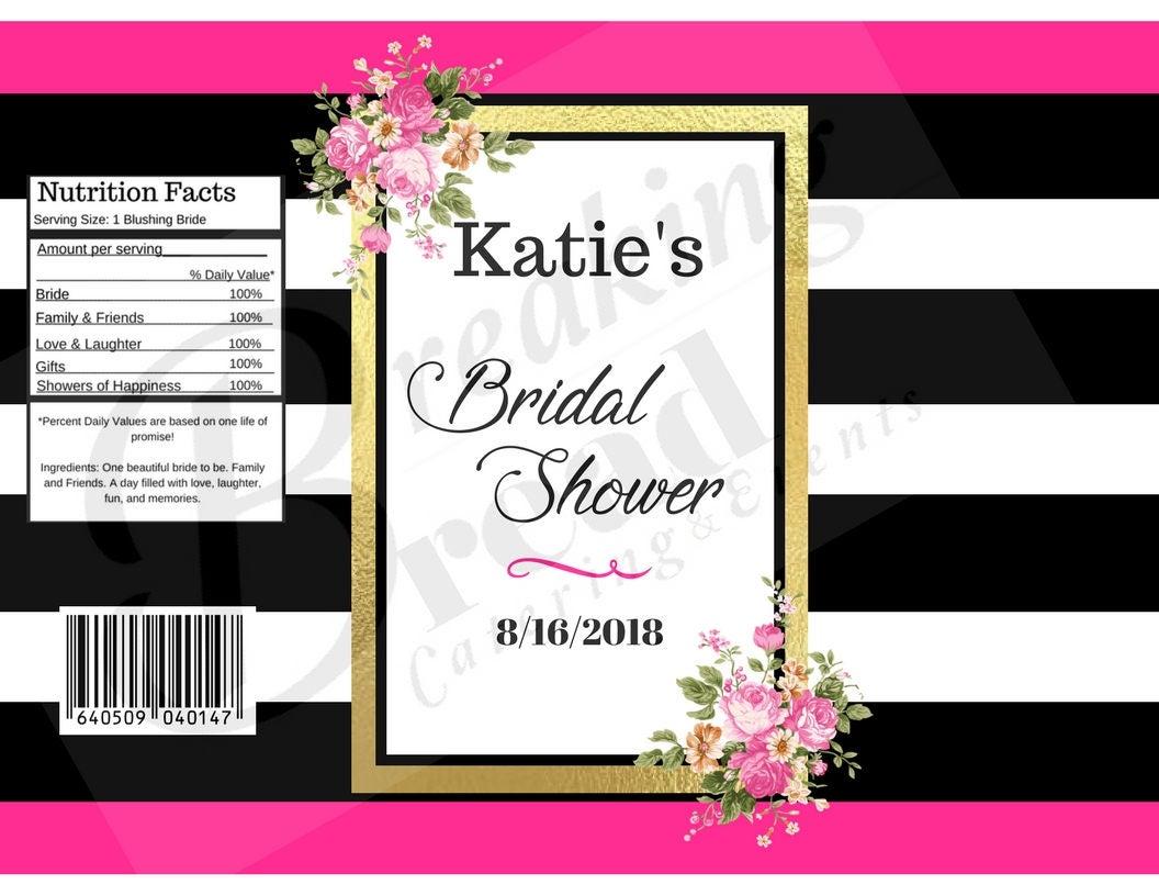 Editable Kate Spade Bridal Shower Chip Bag Label Wrapper Gold
