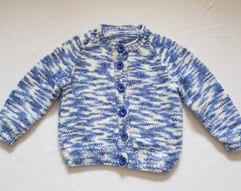 Hand Knitted Girl's Blue Baby Cardigan, 6-12 Months, Long-Sleeve, Baby Knitwear