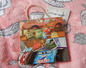 Cars - Lightning McQueen - Radiator Springs - Route 66 - Wooden Square Wall Plaque - Children's Bedroom - Nursery Decor - Cars Gift