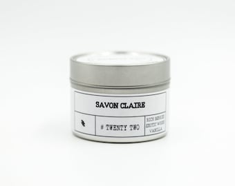 TWENTY TWO - Rich Berries, Exotic Woods, Vanilla - Travel Tin Candle