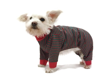 Red and Green Stripe Christmas Dog or Cat Pajamas Dog Clothes - Cat Clothes - Cat Pajamas - Dog Onesie