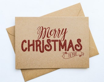 Merry Christmas Kraft greeting card a6 card vintage style card festive card Christmas red printed design