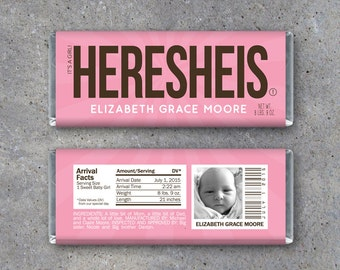 Personalized Birth Announcement Candy Bar Wrappers in PINK – Printable HERESHEIS Hershey Bar Wrappers – It's a Girl! Photo Announcement