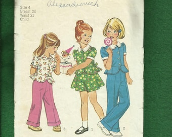 1970's Simplicity  Peplum Tops for Girls & Flared Skirt or Pants 6120 Size 4