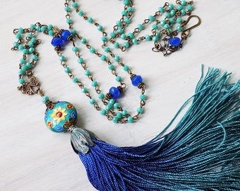Teal blue tassel, tassel necklace, blue green tassel, ombre tassel, handmade tassel necklace, rosary chain, teal blue, cobalt blue, gift her