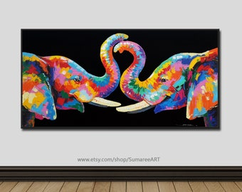 40 x 80 cm, Colorful elephant paintings, wall decor paintings