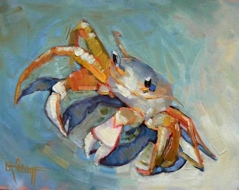 SandCrab Canvas Giclee Print, bathroom art print, free shipping, choose your size, ready to hang, no frame required