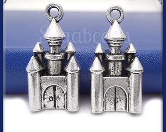 6 Antiqued Silver Castle Charms 28mm PS75