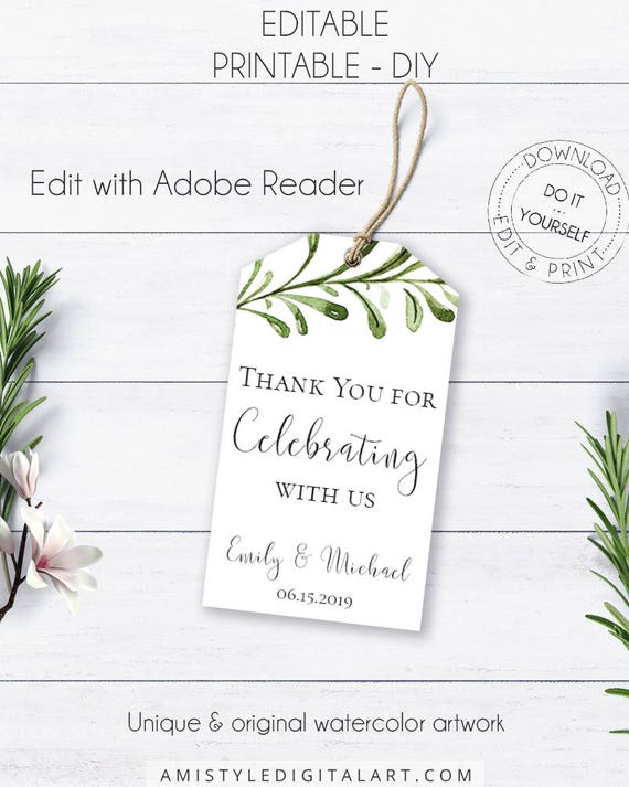 Greenery thank you gift tags boho watercolor wedding tags solutioingenieria Choice Image