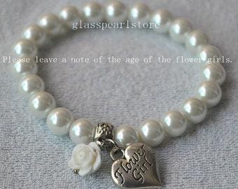 flower girl bracelets,white flower bracelet,57 color flower selecet,children bracelets,little girl bracelets, elastic bracelet