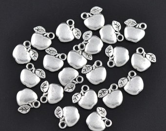 10 Pieces Antique Silver Small Apple Charms