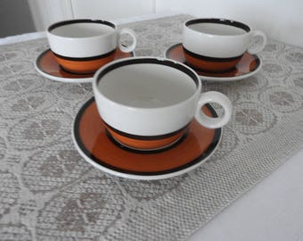 Reservation////Gustavsberg/Sweden  ARENA  coffee cup and  saucer, Designed by Stig Lindberg/60's