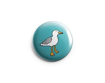 Seagull button - Seagull Magnet, stocking stuffer, bird badge, seagull pin, gift for her, fun gift, gift under five, bird pin, fridge magnet