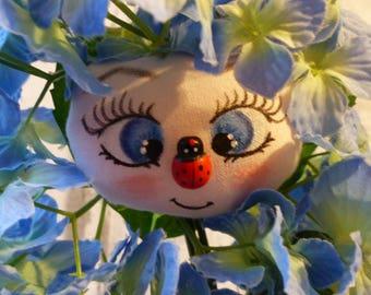 Hortense poupée de chiffon fleur (rag doll, handmade doll, ooak doll, art doll)