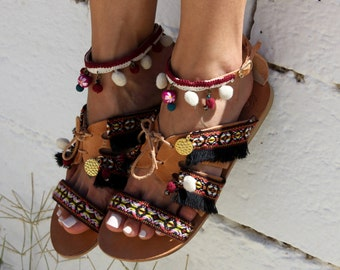 "Leather Sandals, artisanal leather sandals, Greek Sandals, Bohemian Style, Handmade Sandals ""Gypsy Queen"""