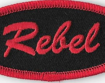 Rebel Name Tag Embroidered Patch, Iron-On Applique, Badge, Retro, Rockabilly, Punk Rock