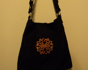 Black purse with Celtic Snake Cross-stitch Inset