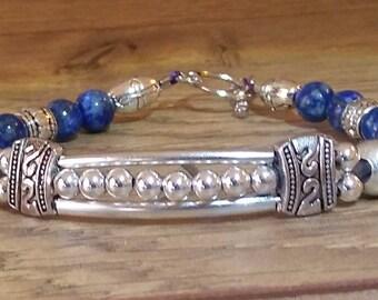Blue Lapis Lazuli and silver bracelet