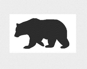 Solide schwarze Bär Stickerei-Design-Datei - download mehrere Formate - eine Farbe Design -3 Größen - sofort