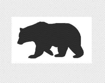 Solid black Bear Embroidery Design File - multiple formats - one color design -3 sizes - instant download