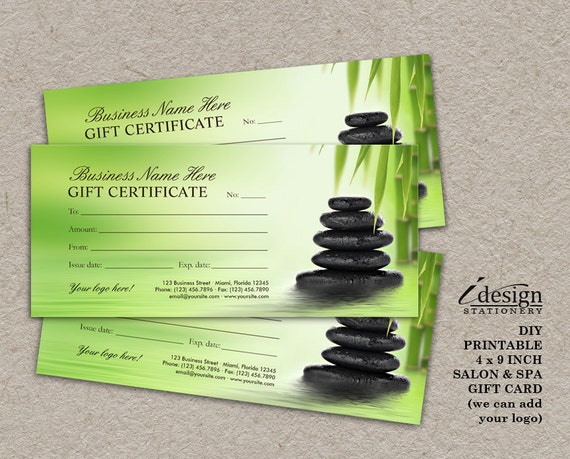 Salon and spa gift certificates printable massage therapist like this item yadclub Image collections
