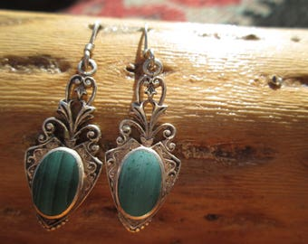 Vintage Malachite Green and Sterling Dangle Earrings
