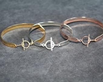 Flat Bangle Bracelet and toggle clasp