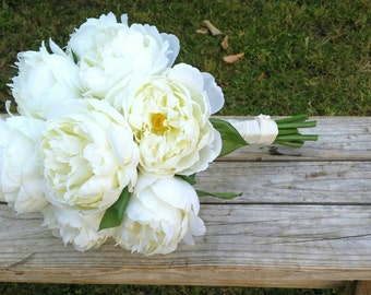 White Silk Peonies Wedding Bouquet Bridal Sized made with Silk White Peony Flowers Rustic Vintage Flowers
