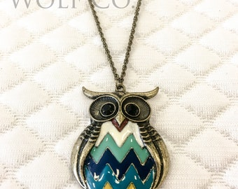 Colorful Metal Owl Necklace