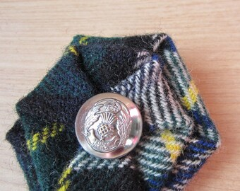 Clan Gordon Tartan brooch with Scottish Police button centre - made from authentic wool tartan in dress colours