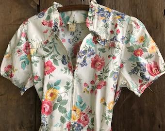 1940s Floral Cotton Dress, Day Dress, House Dress, Floral Print