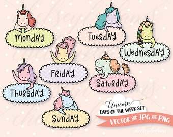 Unicorn Days of the Week Clip Art Set, DIY Planner Stickers, Vector Clipart Graphics, Cute, Kawaii Commercial Use Planner Clipart, Unicorns