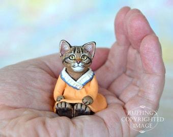 Cat Art Doll, OOAK Original Tabby Kitten, Miniature Hand Painted Folk Art Figurine Sculpture, Augusta by Max Bailey