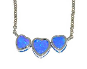 Blue Opal Heart Bezel Pendant .925 Sterling Silver