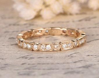 New 14K Yellow Gold Diamond Wedding Band FULL Eternity Ring Stackable Ring Art Deco Diamond Ring Bezel Engagement Ring Retro Promise Ring