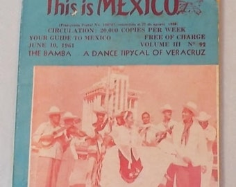 Vintage 1961 Mexican Brochure-This is MEXICO-Guide to Mexico with Dictionary and Sights-FREE SHIPPING!