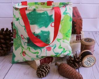 Gift bag, small fabric gift bag with ribbon handles. holly design
