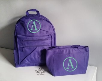 Monogram backpack and lunchbox,  personalized toddler backpack for girls, monogram lunch bag, 2 piece set