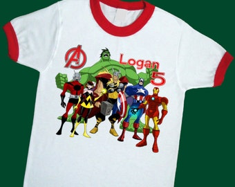 Avengers Birthday Ringer Tee. Super Hero Birthday T Shirt. Personalized with Name Age or Number 1st 2nd 3rd 4th 5th 6th 7th Birthday (25051)