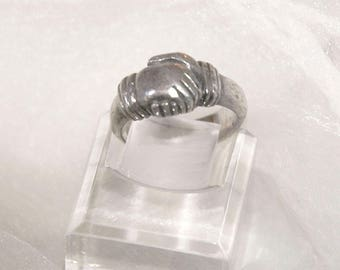"Vintage Friendship Ring, Fede ""Hands in Faith"", Solid 925 Sterling Silver, AB&Co, 8.2 grams, Hallmark, Sz 7.75, Excellent Condition"