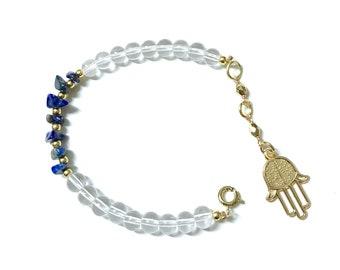 Lapis Lazuli Beaded Glass Bracelet