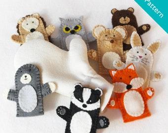 Pattern, The Mitten finger puppet pattern, Mitten pattern, forest animal pattern, mole, badger, owl, mouse, bear, rabbit, badger, fox, diy