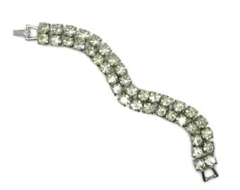 Tennis Bracelet, Rhinestone Bracelet, Vintage Weiss Bracelet - Double Row Rhinestone Silver Tone Bridal Jewelry, Signed Weiss Jewelry