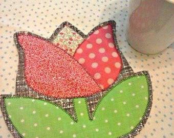 NEW - Tulip Mug Rug - Choose Color - Coaster