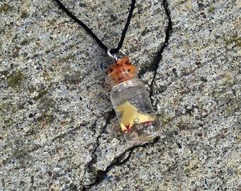 Heavy Rain - Drowning Origami Bird - Bottle Charm Necklace