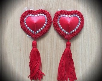 Burlesque Pasties Queen of Hearts Red Swarovski Rhinestone Nipple Tassels